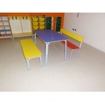 BENCH WITH BACKREST WITH ROUNDED EDGES CM. 125x28x52 (H) (HS 35)