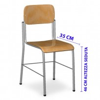 TOP CHAIR IN BEECH WITH LIGATION TO 4 FEET CM. 35x35x46 (H)