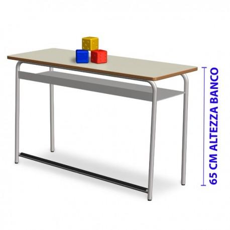 BANCO BIPOSTO CON POGGIAPIEDE 65 CM. 120x50x65 (H)