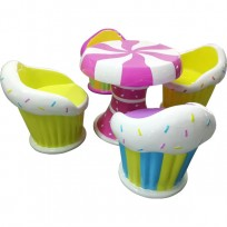 SET TAVOLO CON 4 SEDIE CUP CAKE IN RESINA