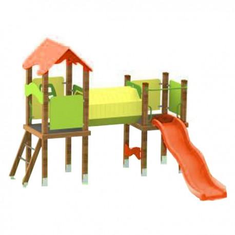 CASTELLO IN LEGNO DOPPIA TORRETTA CHILDREN PLAY FACILITY DIM CM. 318 X 282 X 262 (H)
