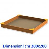 SABBIERA WOODEN BOX QUADRATO CON SEDUTE DIM CM. 200 X 200 X 28 (H)