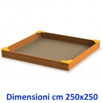 SABBIERA WOODEN BOX QUADRATO CON SEDUTE DIM CM. 250 X 250 X 28 (H)