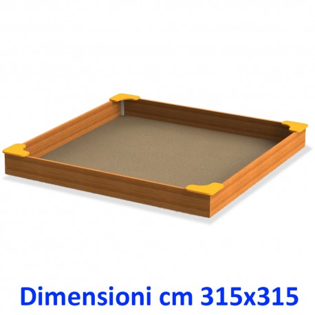 SABBIERA WOODEN BOX QUADRATO CON SEDUTE DIM CM. 315 X 315 X 28 (H)